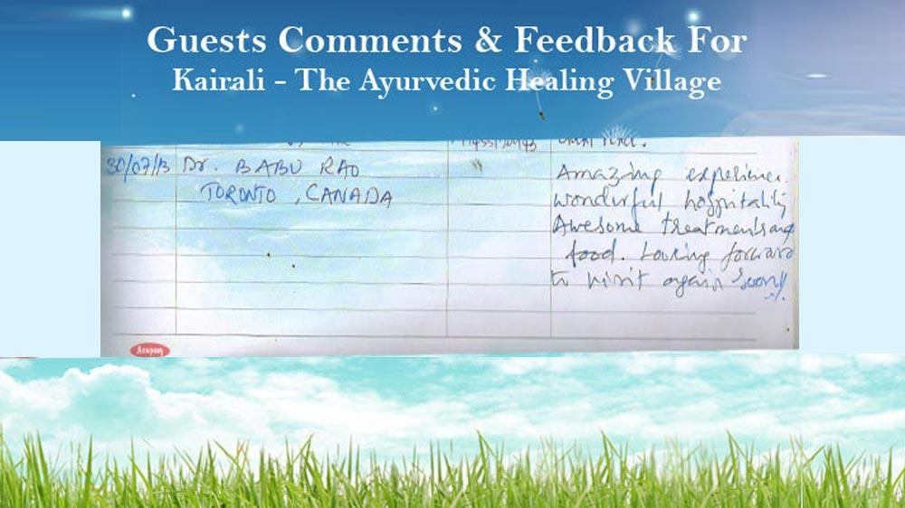 Babu Rao's Feedback on Kairali The Ayurvedic Healing Village