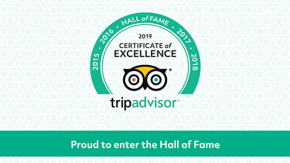 5 Times in  Row- Certificate of Excellence by Trip Advisor
