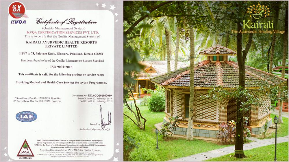Kairali Health Retreat Receives ISO Certification for Meeting Quality Standards
