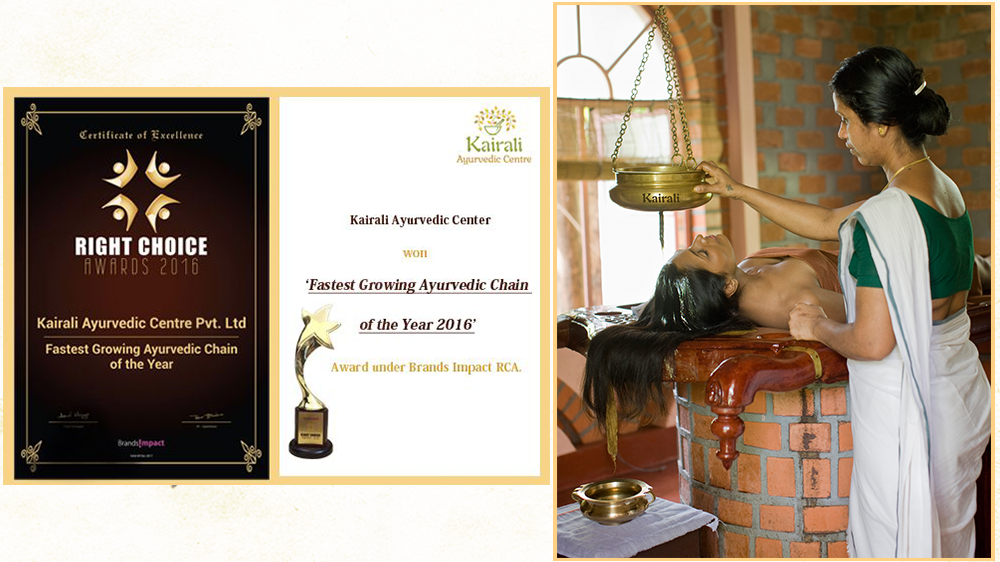 Fastest Growing Ayurvedic Chain awarded to Kairali Ayurvedic Center by Right Choice Awards, 2016