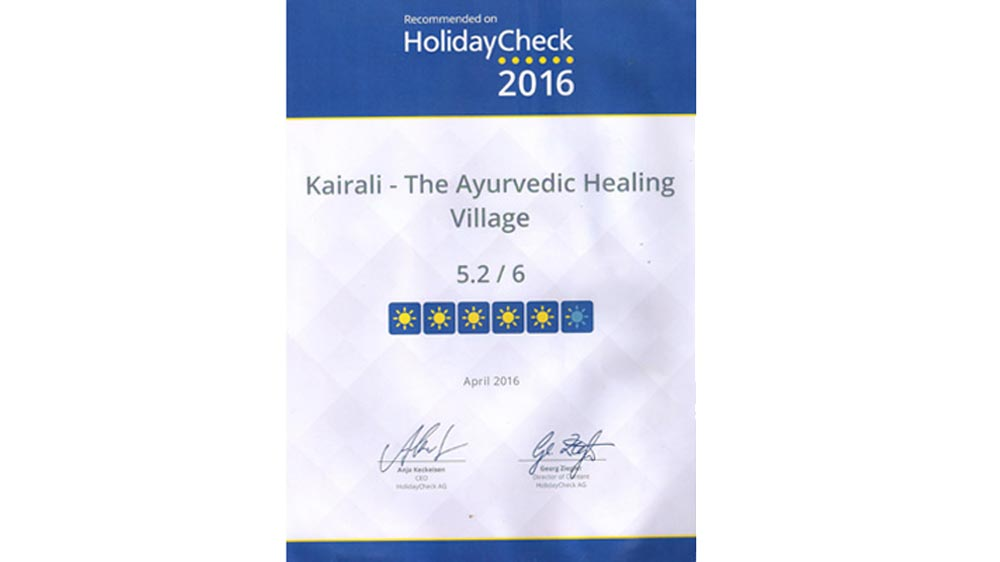 Spreading Health Worldwide The Ayurvedic Healing Village gets recommended on Holiday Check 2016