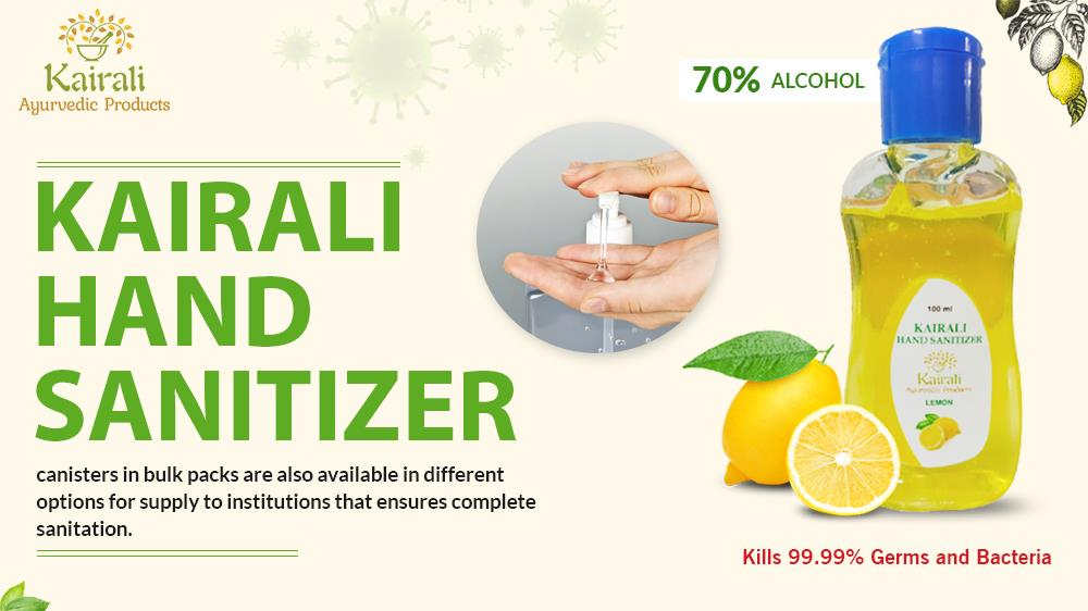 Kairali hand sanitizers available in bulk pack
