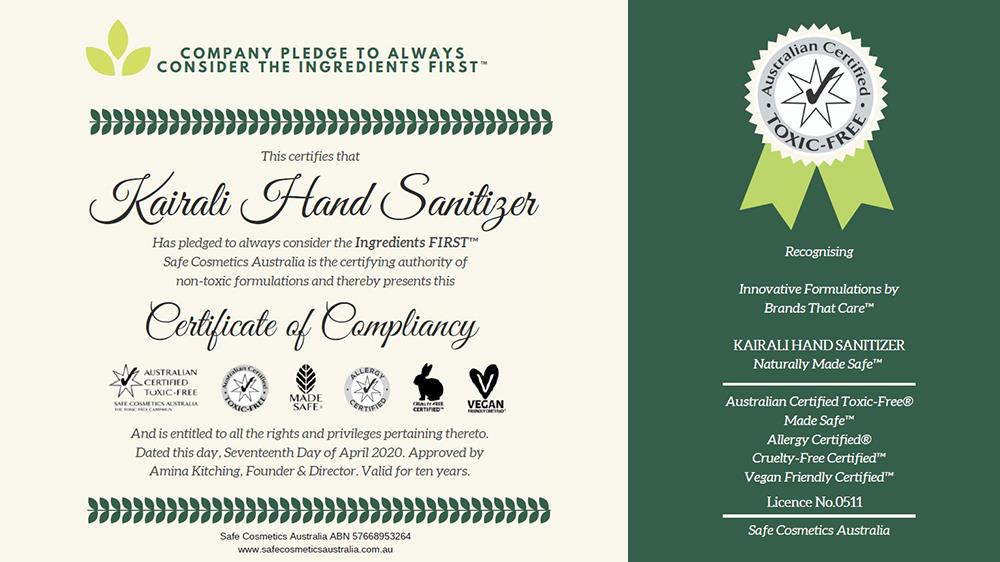 Kairali Hand Sanitizer received the Certificate of Compliance from Safe Cosmetics Australia