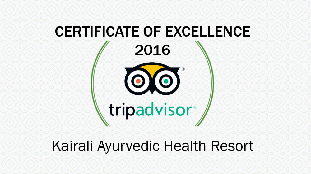 Kairali - The Ayurvedic Healing Village Awarded Certificate of Excellence 2016 by TripAdvisor
